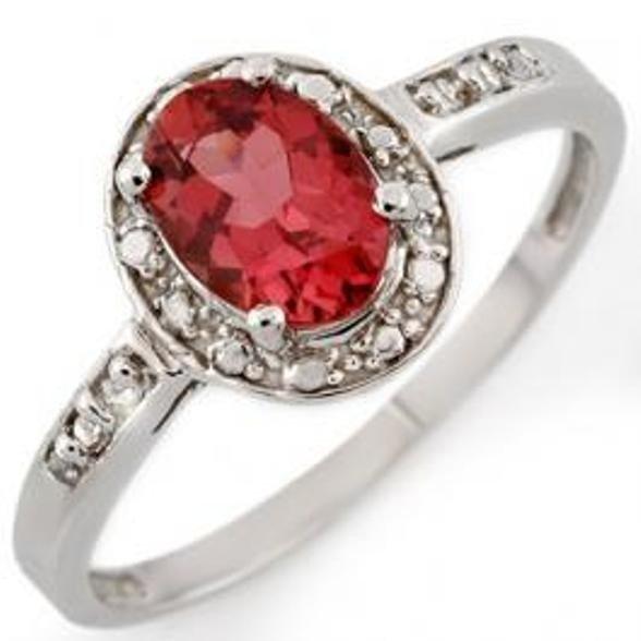 55J: 0.85ctw Pink Tourmaline & Diamond Ring 10K