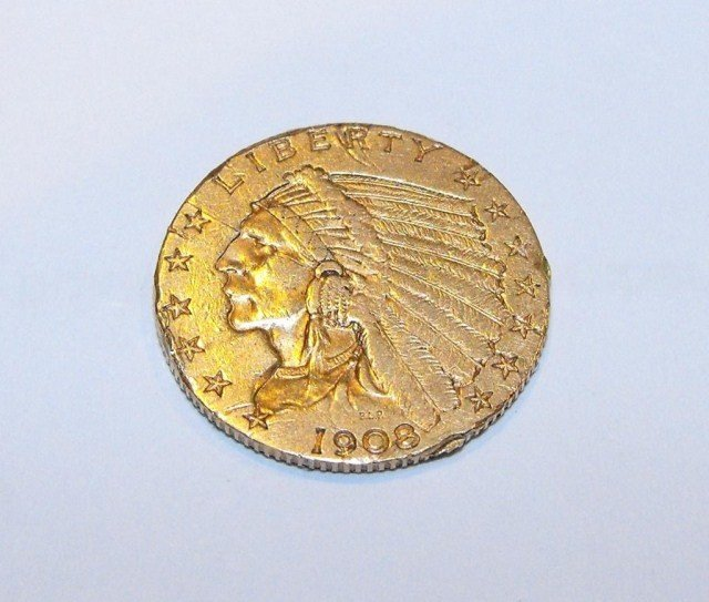 2Y: 1908 p $ 2.5 Gold Coin- Ex Jewely