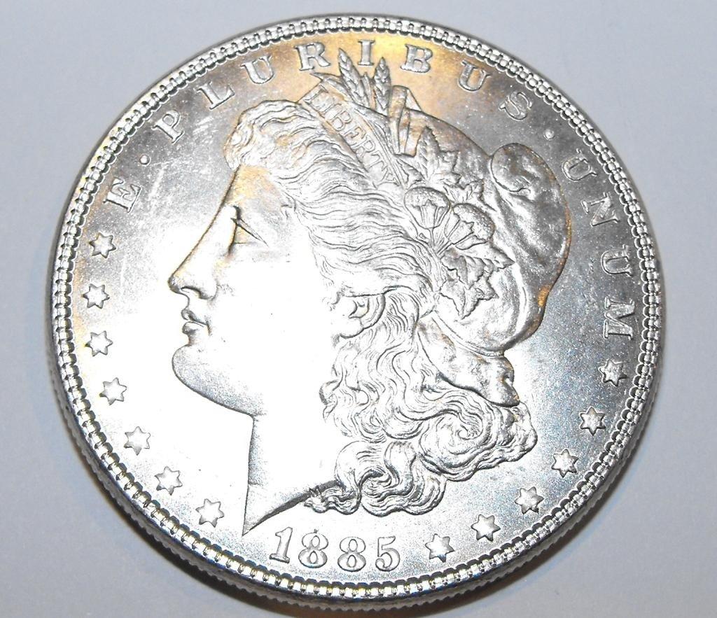 2L: 1885p ms63 + Morgan Silver Dollar