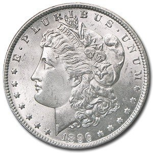 4: 1896 P UNC Morgan Silver Dollar