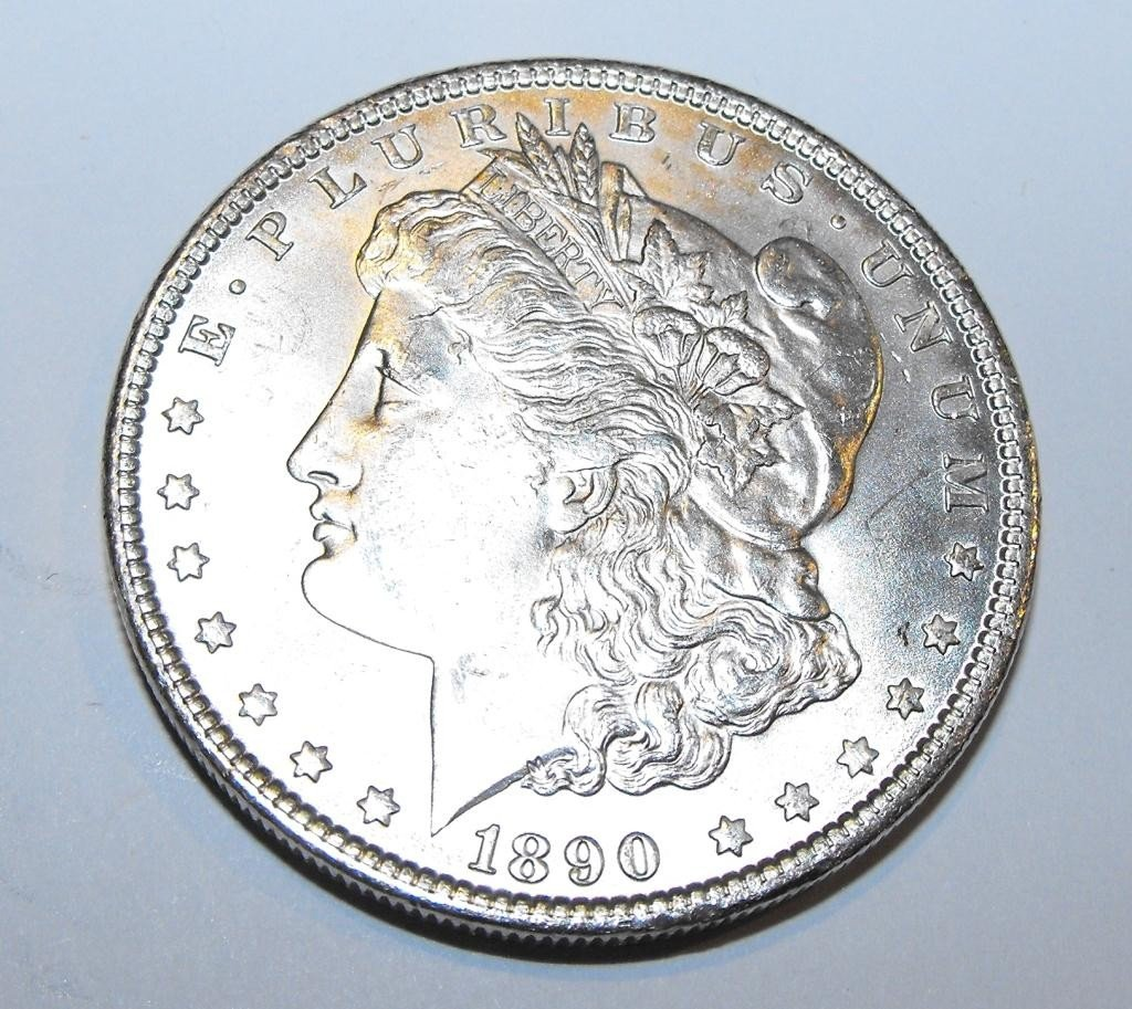 5: 1890 P BU Morgan Silver Dollar