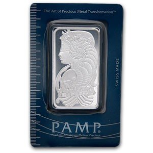 1A: 50 gram PAMP SUISSE Silver INGOT on ASSAY CARD (10)