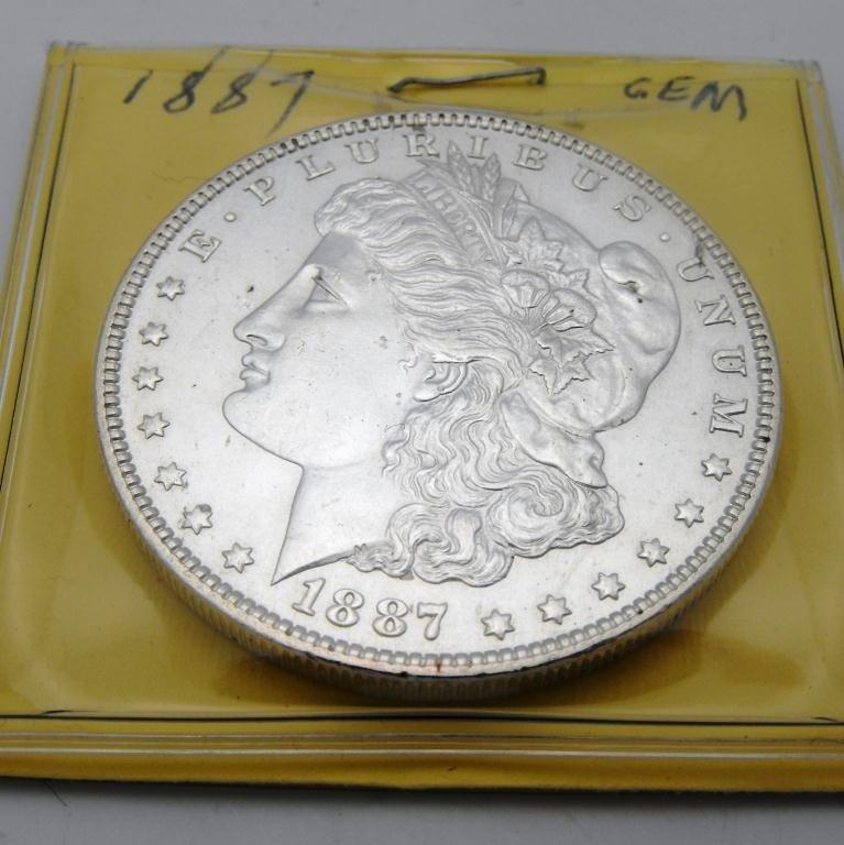 1: 1887 p Gem BU Morgan Silver Dollar