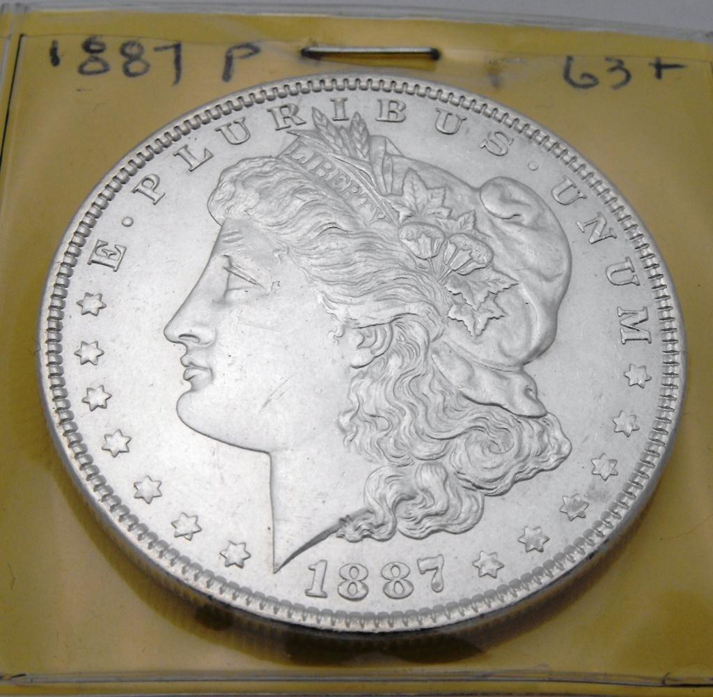 4: 1887 P MS 63 Morgan Dollar