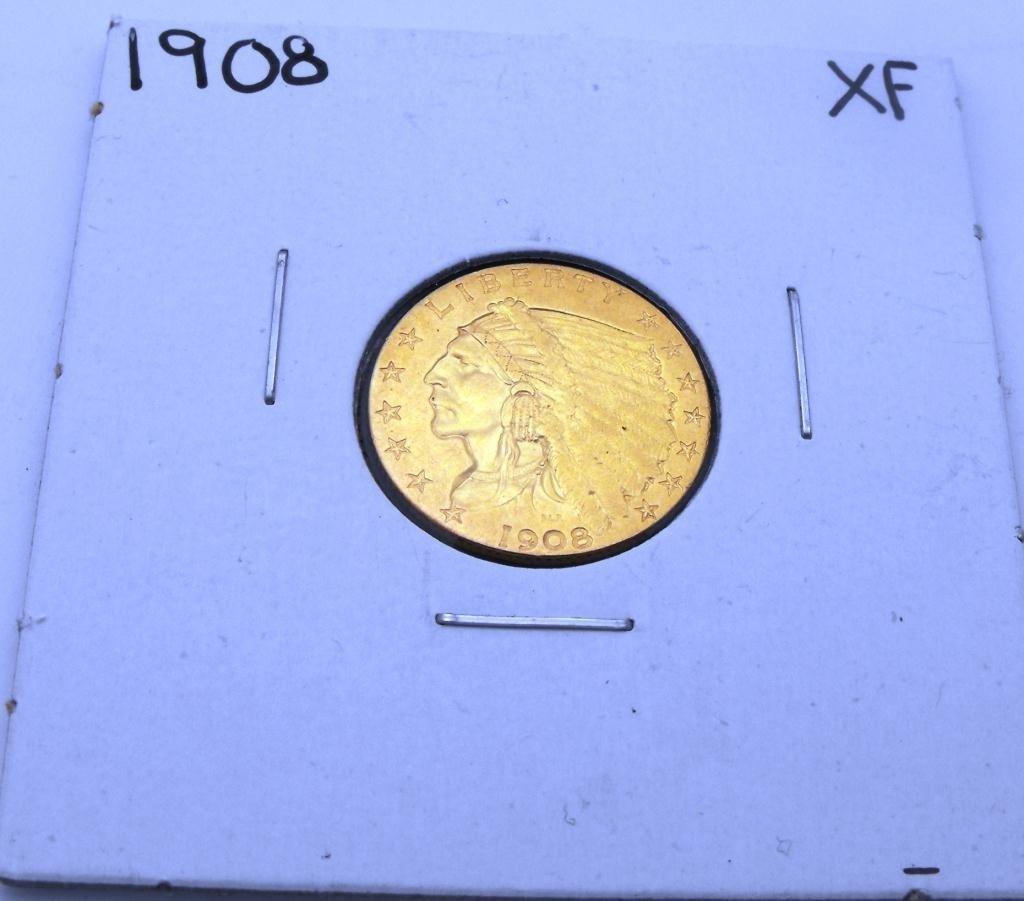6: 1908 XF Grade $2.5 Indian Gold Coin