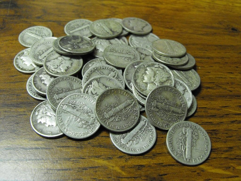 5S: Lot of (50) Mercury Dimes - Circulated