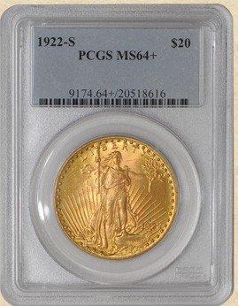 1A: 1922 s MS 64 PLUS $ 20 St. Gaudens PCGS- KEY