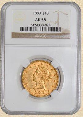 1F: 1880 p $ 10 Gold Liberty AU 58 NGC