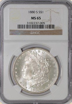 1L: 1880 s MS 65 Morgan Dollar NGC