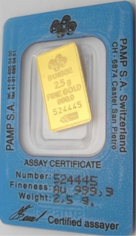 1O: 2.5 Gram .9999 Pure Gold on Assay Card Pamp