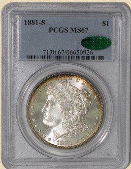 2L: RARE 1881 s PCGS ms 67!!! Morgan