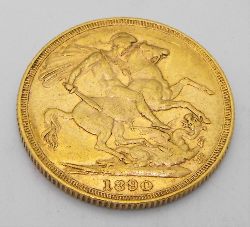 3: 1890 Full Sovereign King George Gold Coin