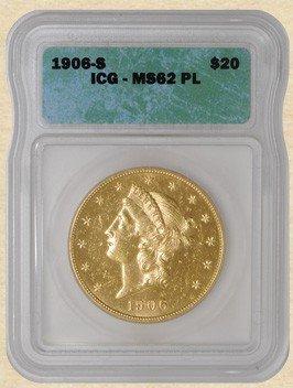3A: 1906 s MS 62 Prooflike $ 20 Liberty