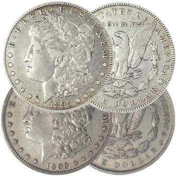 57S: 1895-O & 1899-P Morgan Silver Dollars