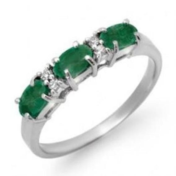 2J: 0.88 ctw Emerald & Diamond Ring 10K