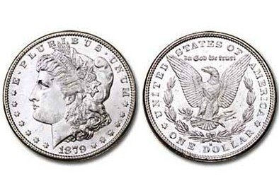 1: 1879 S Bright Shiny Morgan Silver Dollar
