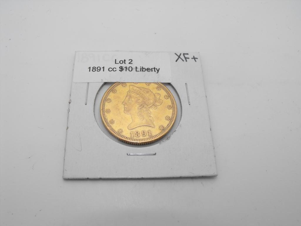 2: KEY DATE 1891 Carson City $ 10 Liberty XF +