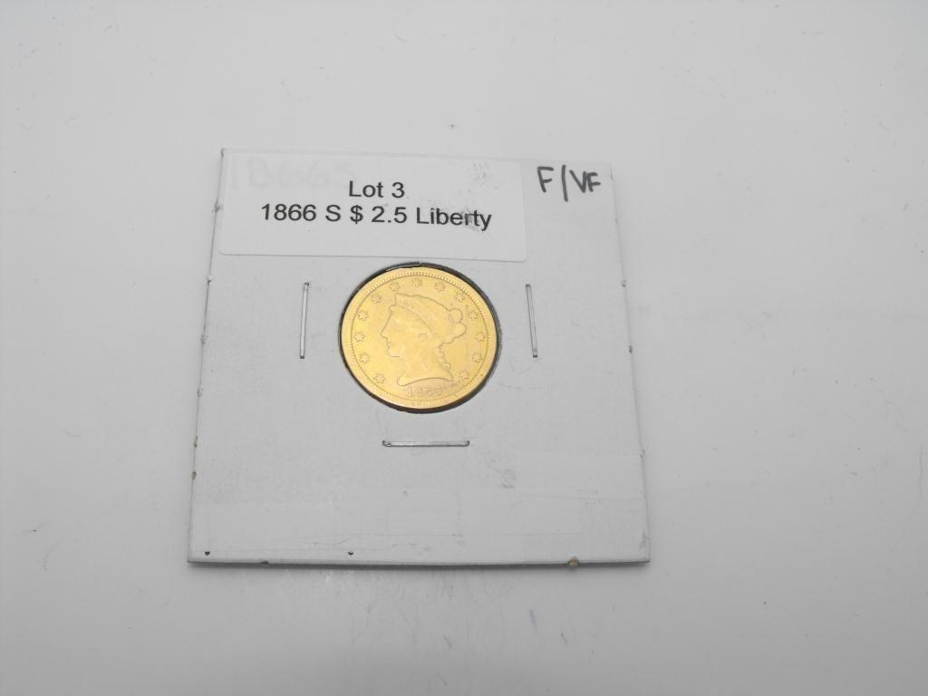 3: 1866 s $ 5 Liberty Gold Fine/XF