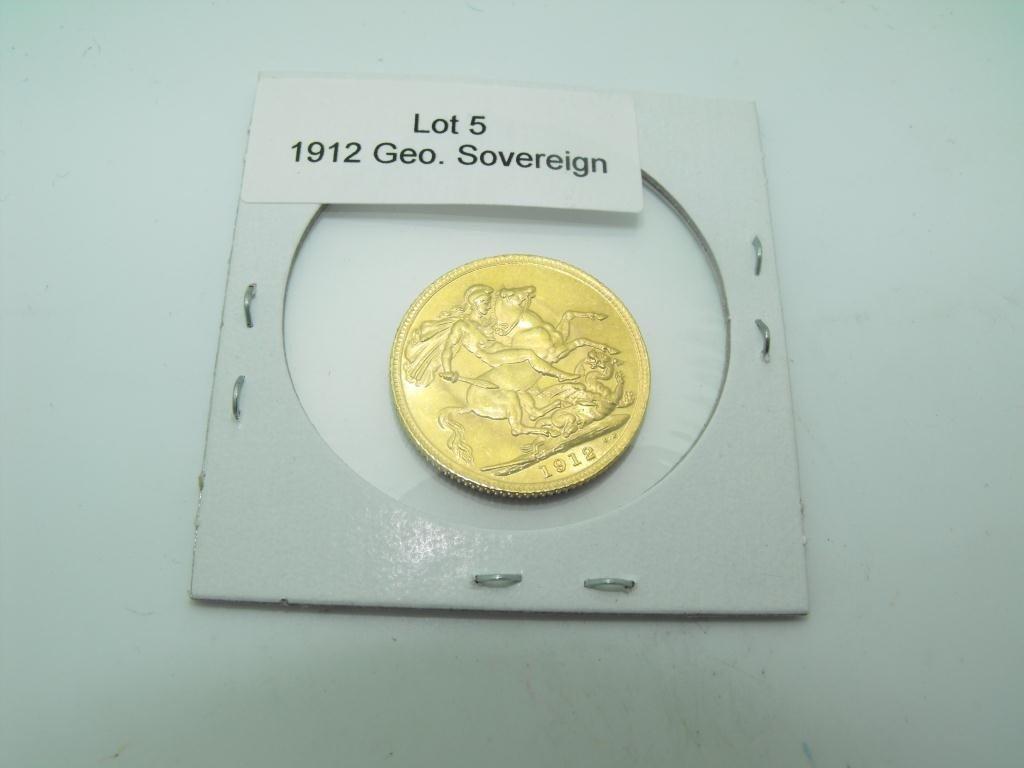 5: 1912 King George British Sovereign AU Grade