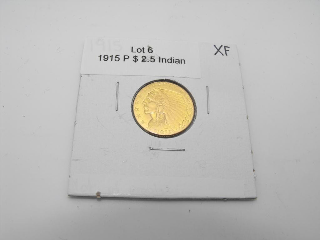 6: 1915 $ 2.5 Gold Indian XF grade