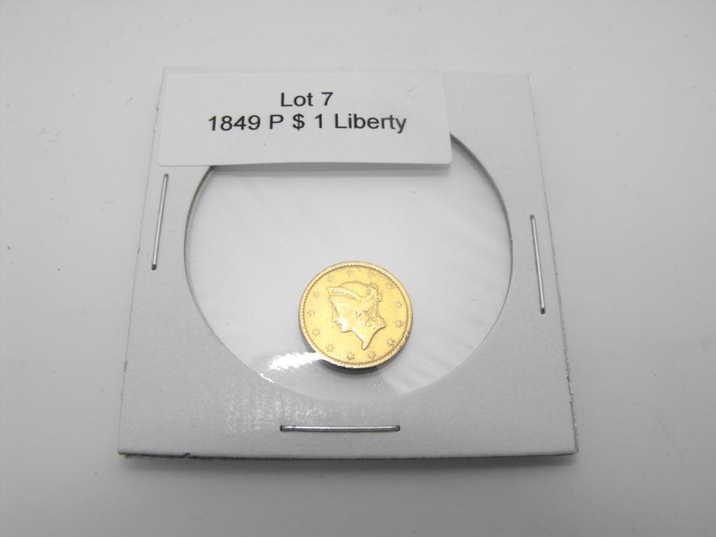 7: 1849 p $ 1 Liberty Gold Coin Type I
