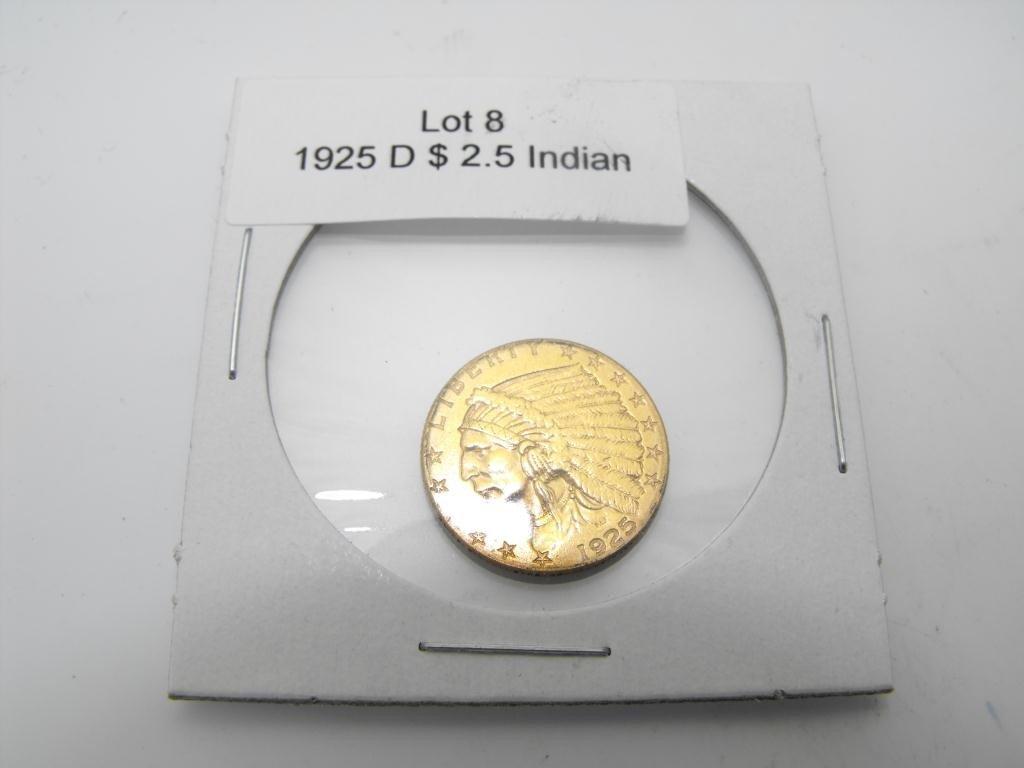 8: 1925 d $ 2.5 Gold Indian
