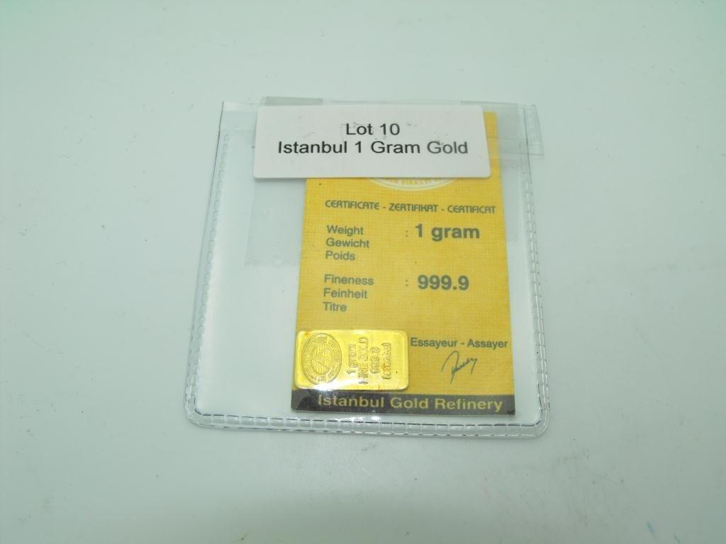 10: 1 Gram 999.9 Pure Gold Ingot w/ Card