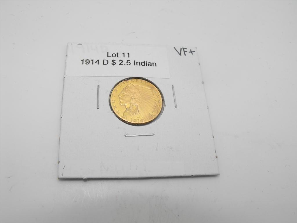 11: 1914 d $ 2.5 Gold Indian