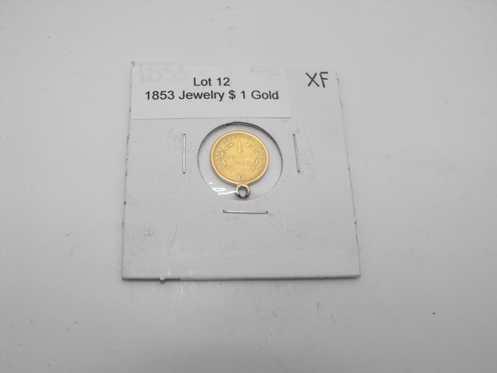 12: 1853 $ 1 Gold Liberty Jewelry Pendant