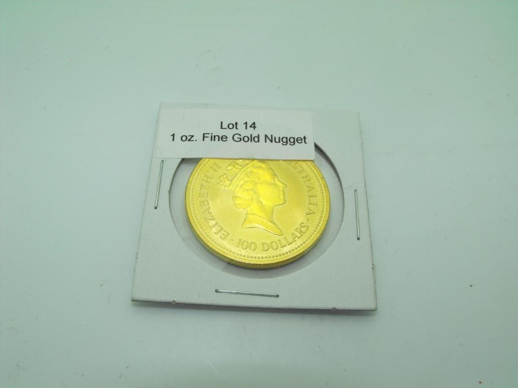 14: 1987 Australian Gold Nugget Bullion 1 oz Pure