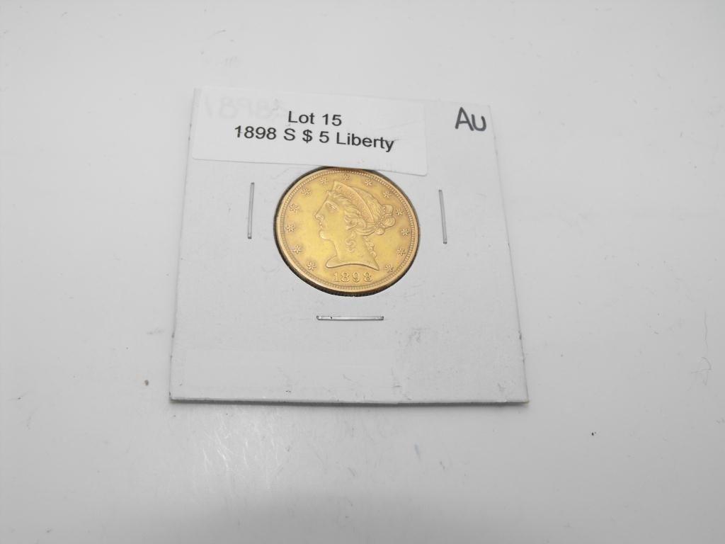 15: 1898 s $ 5 Gold Liberty Coin AU grade
