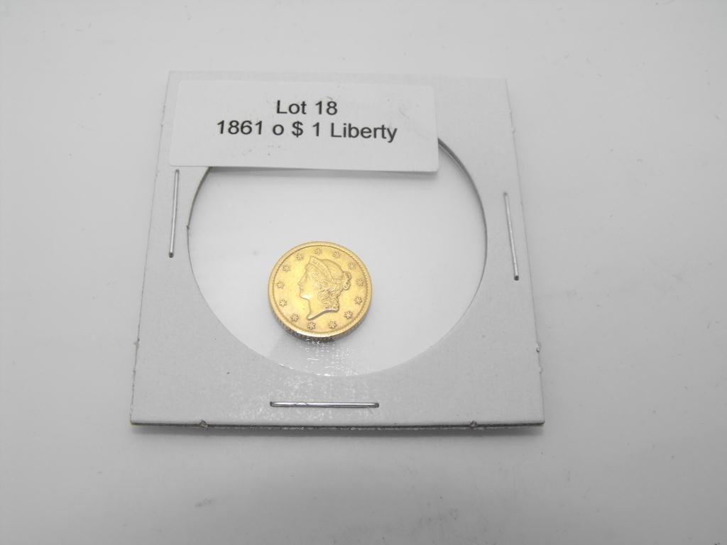 18: 1861 o $ 1 Liberty Gold Coin Civil War Era