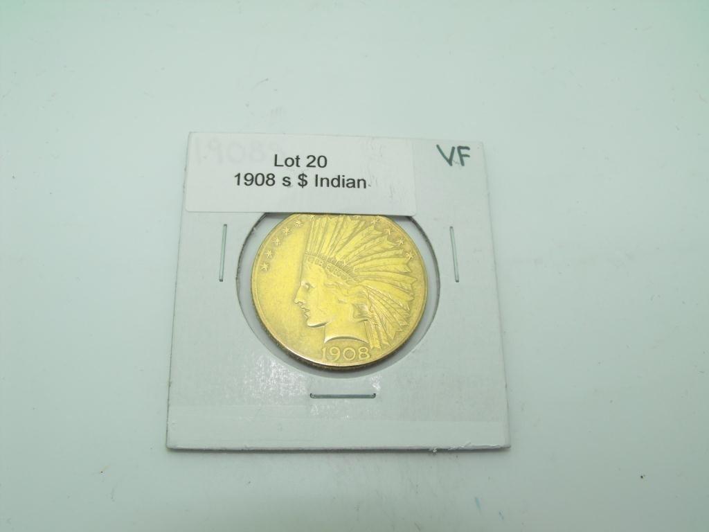 20: 1908 s $ 10 Gold Indian Coin VF Grade