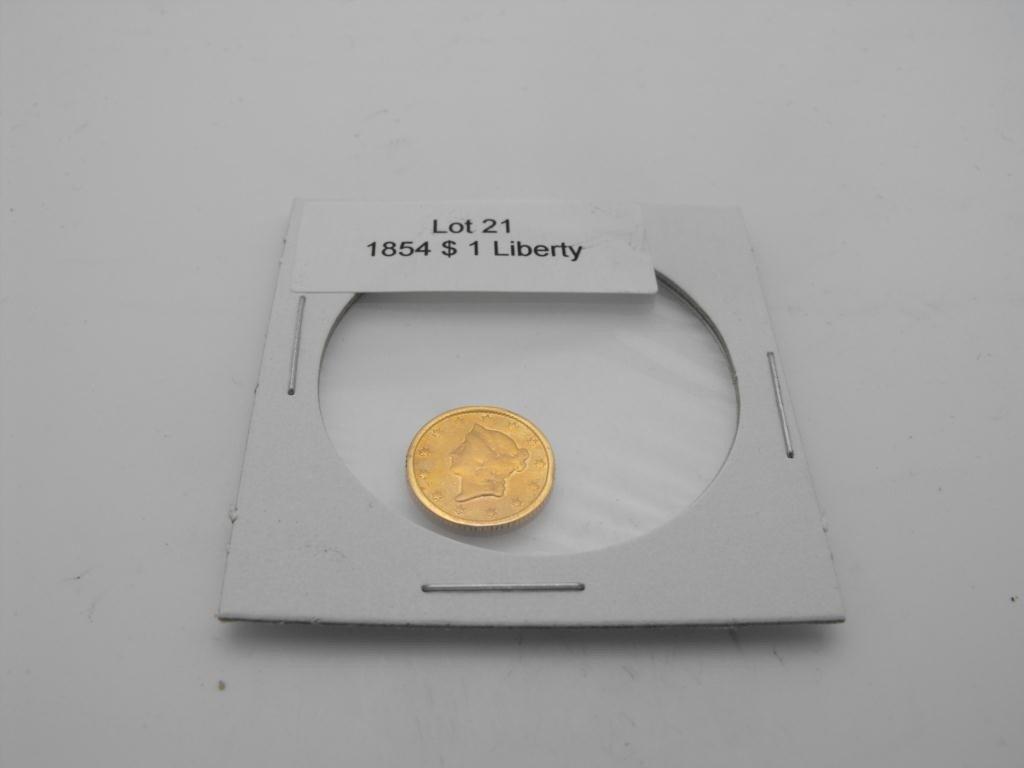 21: 1854 p $ 1 Gold Liberty Coin