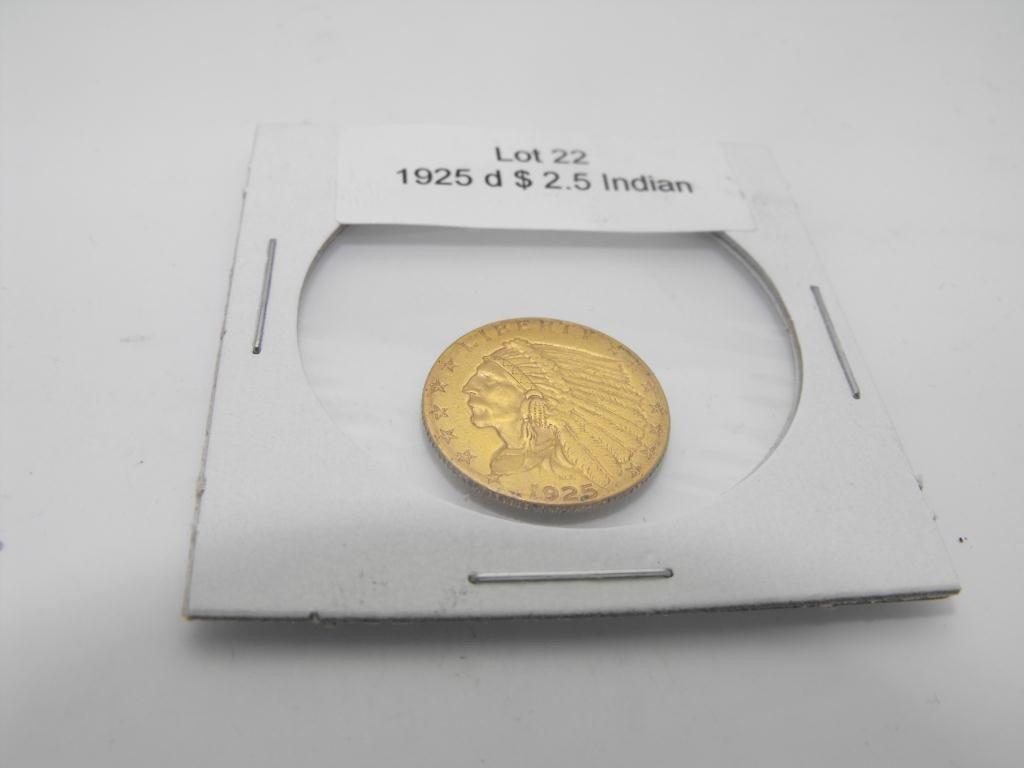 22: 1925 d $ 2.5 Gold Indian Coin