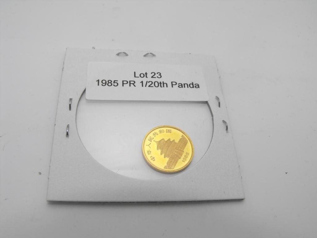 23: 1985 Proof 1/20th Gold Panda