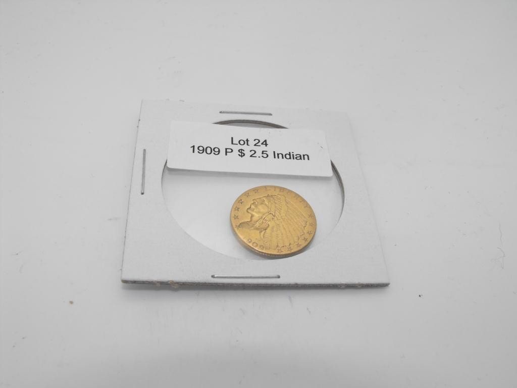 24: 1909 p $ 2.5 Gold Indian Coin