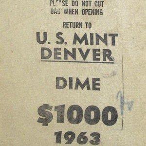 2A: 90%  1963-D Roosevelt 10c Mint Sealed $1000 Bag BU