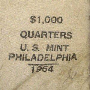 3A: 90% 1964-P Washington 25c Mint Sealed $1000 BU