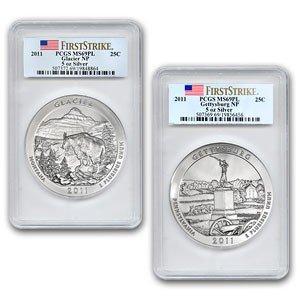 3C: 2011 5 oz Gettysburg & Glacier PCGS MS-69 PL 2-coin