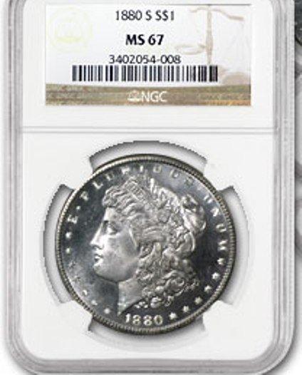 1B: 1880's Mint State 67 Morgan SIlver Dollar STUNNER!!