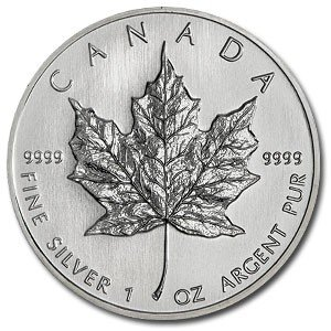 61C: (10) Silver 1 oz Maple Leaf Bullion
