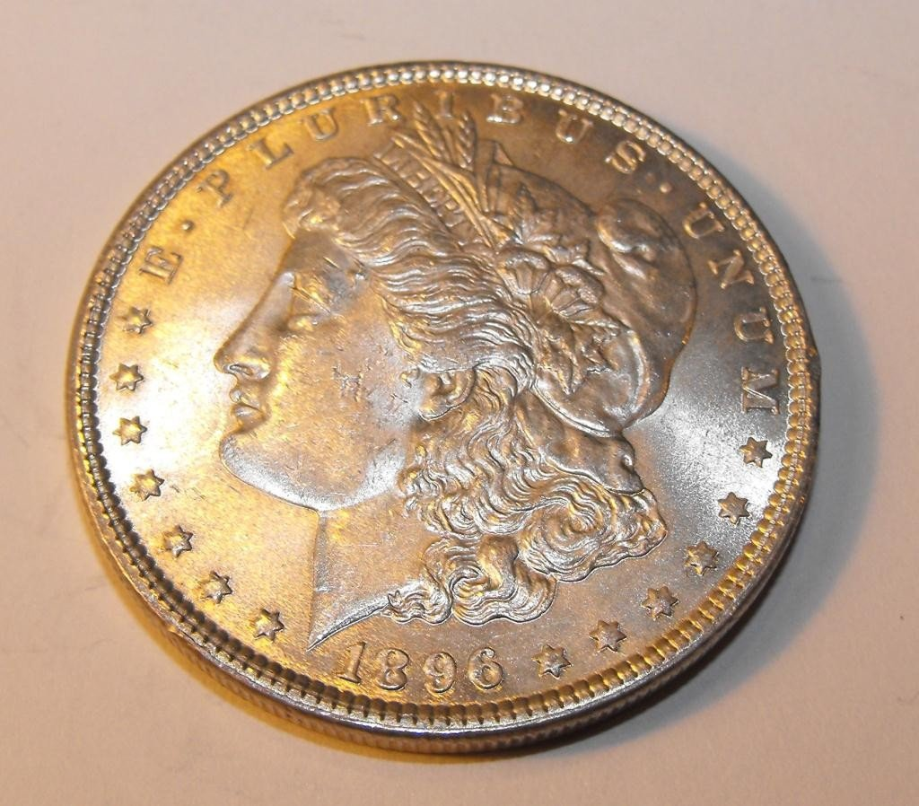 3: 1896 P UNC Morgan Silver Dollar