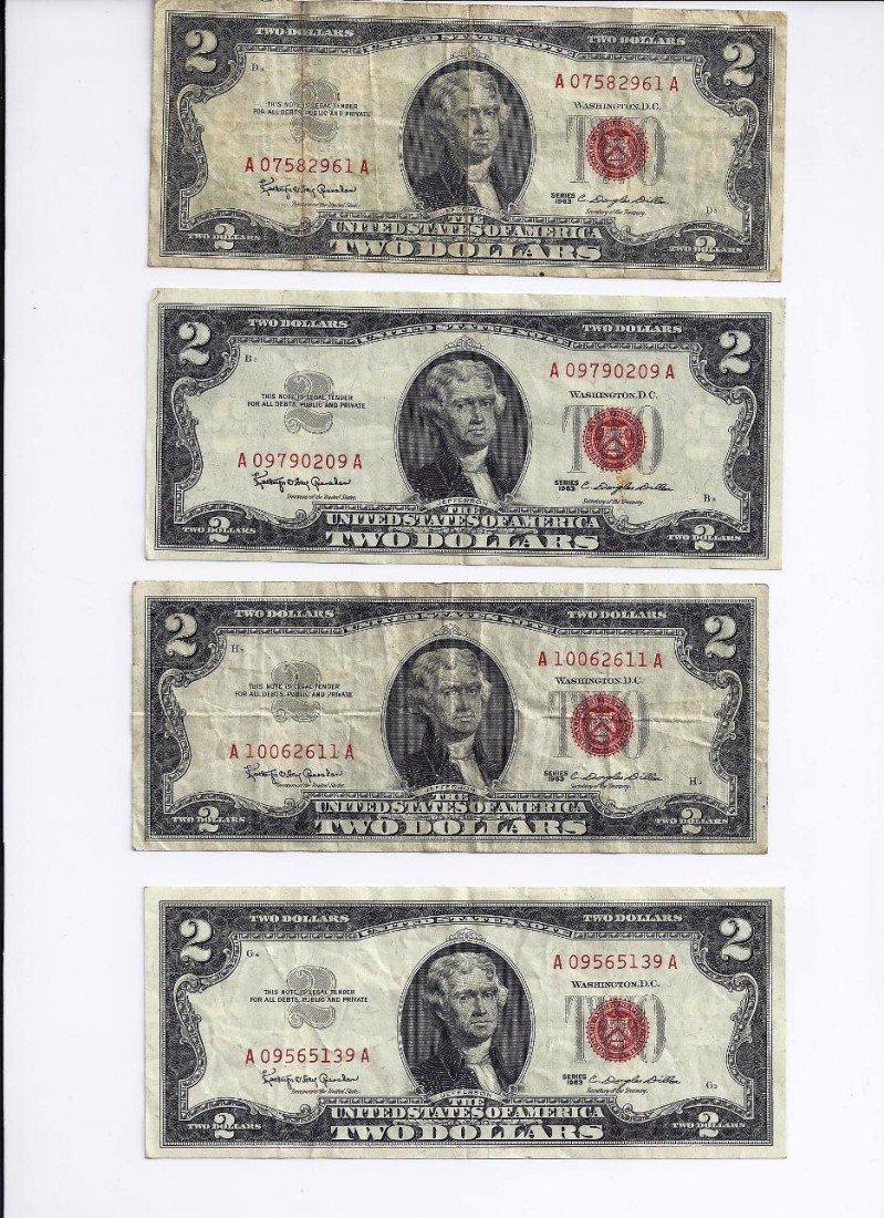 1: Lot of 4 Red Seal $ 2 Dollar Bills 1963