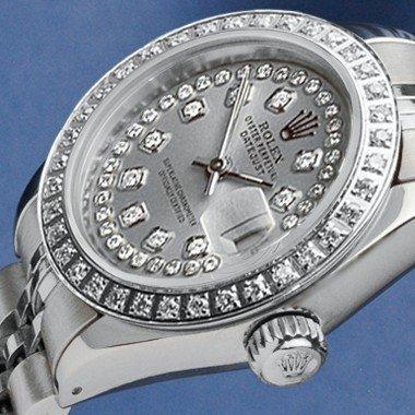 1Z: LADIES STEEL ROLEX DATEJUST SLATE STRING DIAMOND DI
