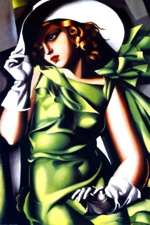 "14P: Tamara de Lempicka "" Jeune Fille Vert "" 24 x 36"