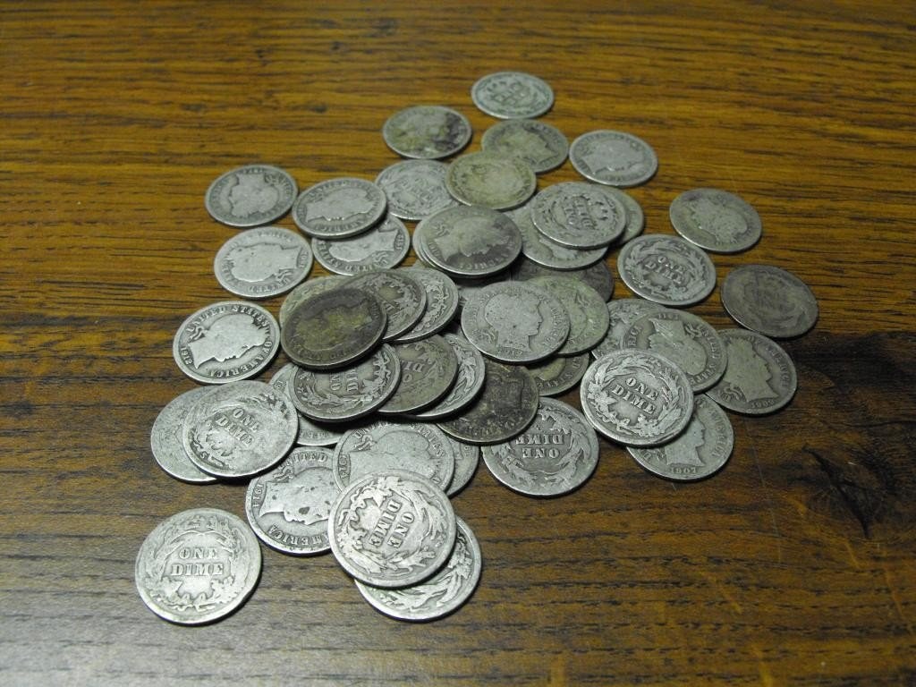 11O: Lot Of 50 Barber Dimes
