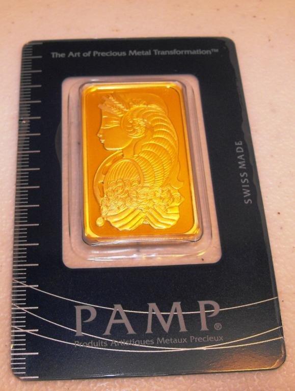 147S: 1 OZ. Pamp Suisse Gold Ingot 999.9 Pure