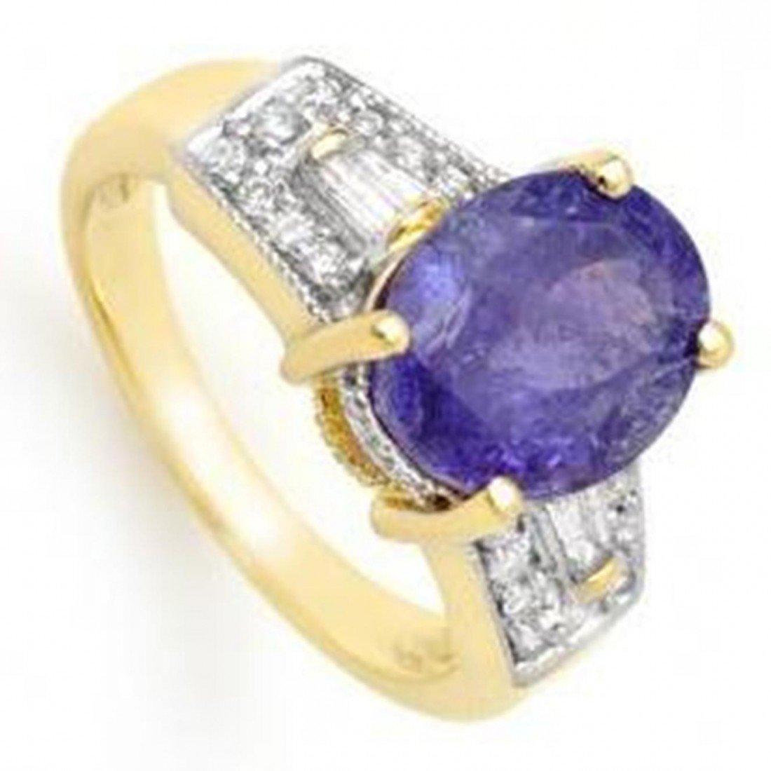 3W: 5.55ctw Tanzanite & Diamond Ring 10K Yellow Gold