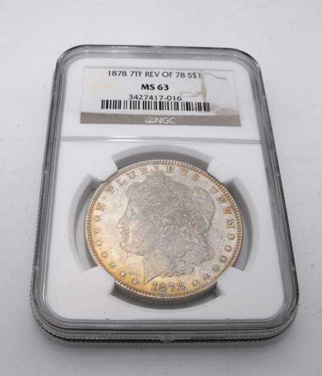 1A: 1878 7 TF RV of 78 MS 63 Morgan NGC
